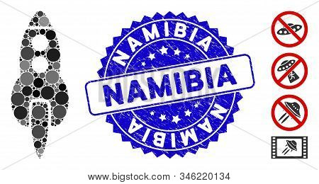 Mosaic Space Rocket Icon And Grunge Stamp Seal With Namibia Caption. Mosaic Vector Is Created With S