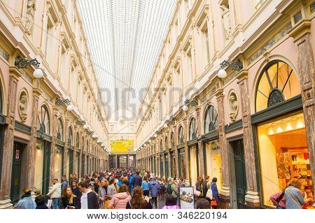 Brussels, Belgium - October 5, 2019: People  At St. Hubert Galleries. The Saint-hubert Royal Galleri