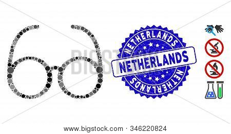 Collage Spectacles Icon And Corroded Stamp Seal With Netherlands Caption. Mosaic Vector Is Composed