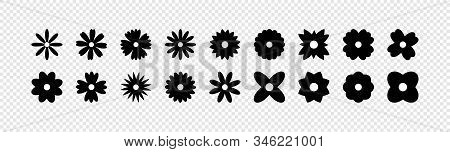 Flowers Vector Icons. Flower Icon. Flowers Isolated On Transparent Background. Flowers In Modern Sim