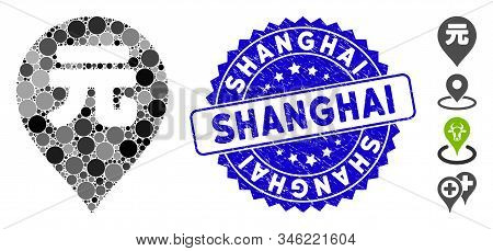Mosaic Yuan Renminbi Marker Icon And Distressed Stamp Watermark With Shanghai Phrase. Mosaic Vector