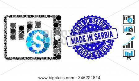 Mosaic Sales Chart On Pda Icon And Grunge Stamp Seal With Made In Serbia Caption. Mosaic Vector Is D