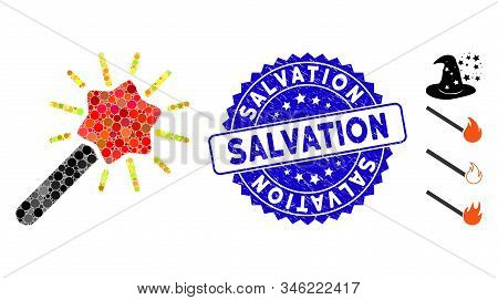Mosaic Wizard Wand Icon And Distressed Stamp Seal With Salvation Caption. Mosaic Vector Is Composed