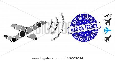 Mosaic Radio Intelligence Airplane Icon And Rubber Stamp Seal With War On Terror Caption. Mosaic Vec