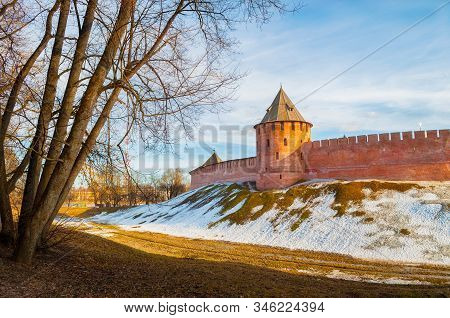 Veliky Novgorod Kremlin Tower In Early Spring Evening In Veliky Novgorod, Russia, Panoramic View, Hd
