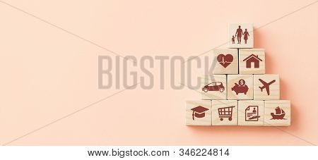 Wooden Blocks With Icons Of Various Types Of Insurance. Life Insurance Concept.