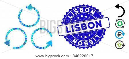Mosaic Rotation Icon And Rubber Stamp Watermark With Lisbon Caption. Mosaic Vector Is Composed With