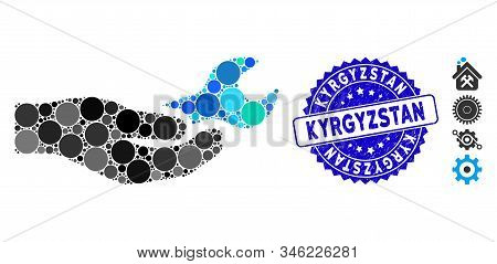 Mosaic Repair Service Icon And Rubber Stamp Watermark With Kyrgyzstan Caption. Mosaic Vector Is Comp