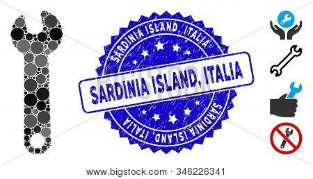 Mosaic Wrench Icon And Rubber Stamp Seal With Sardinia Island, Italia Text. Mosaic Vector Is Compose