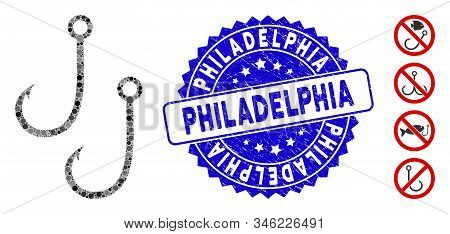 Mosaic Two Fishing Hooks Icon And Corroded Stamp Seal With Philadelphia Text. Mosaic Vector Is Compo