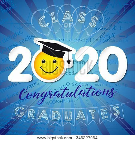 Class Of 2020 Year Graduation Logo, Awards Concept. Paper Numbers, Happy Holiday Invitation Card, Cu