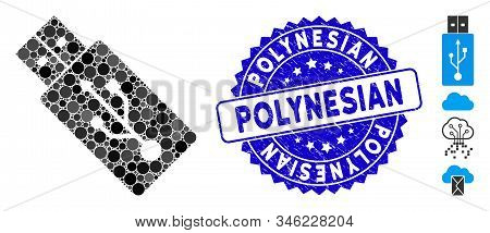 Mosaic Usb Drive Icon And Distressed Stamp Watermark With Polynesian Text. Mosaic Vector Is Formed W