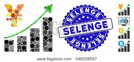 Mosaic Yen Growth Graph Icon And Corroded Stamp Seal With Selenge Phrase. Mosaic Vector Is Designed