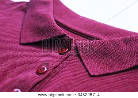 Polo Shirt Buttoned Collar Neck Top Of Purple Or Dark Pink Colour Clothes. Casual Cotton T-shirt, Ma