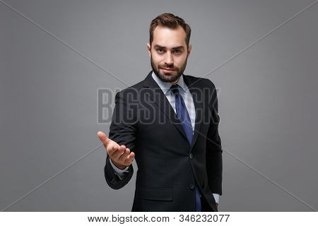 Confident Young Business Man In Classic Black Suit Shirt Tie Posing Isolated On Grey Background. Ach
