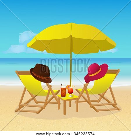 Chaise Lounges With Umbrella On Idyllic Tropical Sandy Beach. Seaside Landscape Background. Summer H