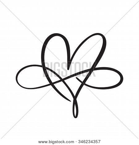 Heart Love Logo With Infinity Sign. Design Flourish Element For Valentine Card. Vector Illustration.