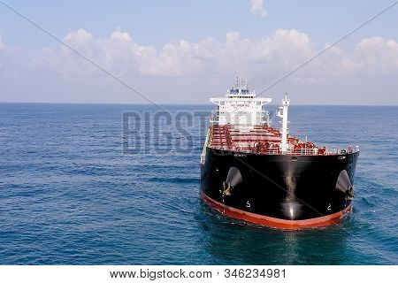 Large Bulk Carrier Ship At Sea, Aerial Image.