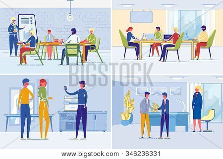 Business People Work And Daily Company Corporate Life. Businessmen And Women Holding Meeting, Making
