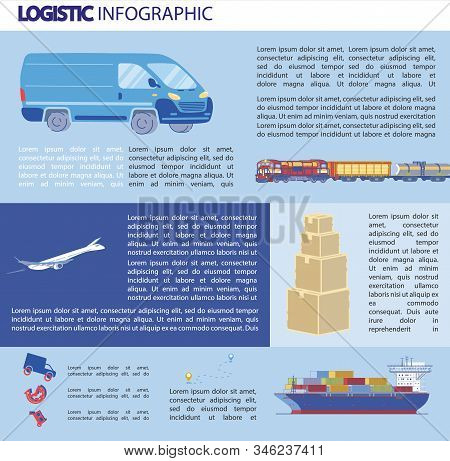 Logistics Infographics, Bulky Transportation. Different Types Transport For Transporting Goods Over