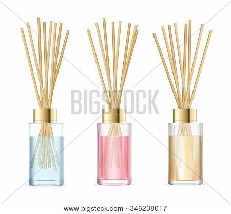 Realistic Detailed 3d Aromatherapy Set Concept. Vector Illustration Of Glass Jar Different Color Wit