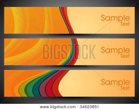 Website banner or header set with wave pattern. EPS 10.