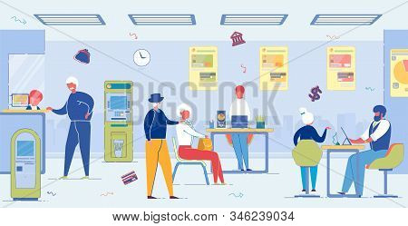 Aged People In Bank. Senior Men And Women Communicate With Managers And Receptionist About Pension A