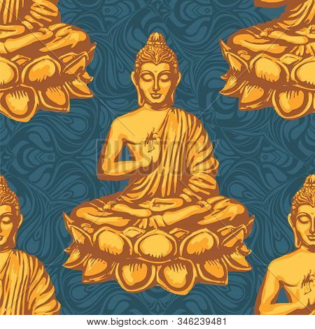Buddha Sits In The Lotus And Blesses Against The Backdrop Of The Mandalas. Retro Vector Seamless Pat