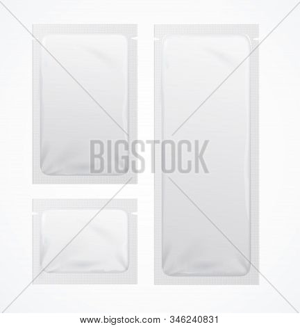 Realistic Detailed 3d White Blank Sachets Template Mockup Set Different Size . Vector Illustration O