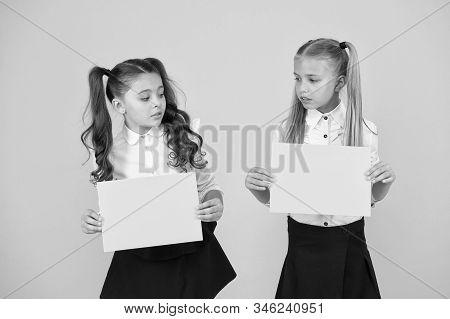 Back To School Concept. Schoolgirls Classmates Friends. Kids Relations. Criticisms Homeschooling Chi