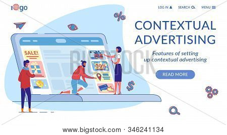 Contextual Marketing Landing Page Flat Template. Internet Targeted Content Promotion Web Banner Cart