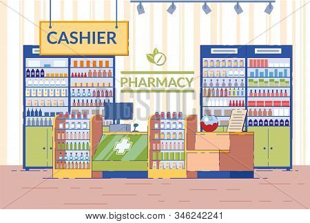 Pharmacy Interior, Empty Drugstore Modern Area With Shelves And Cashier Desk For Sale Of Vitamins An