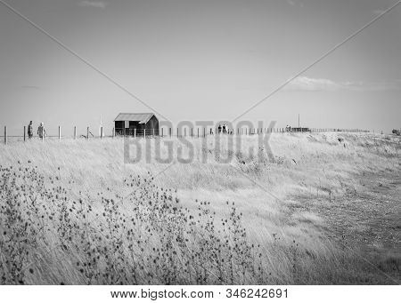 Rye England - August 20 2019; Famous Black Shed With Red Roof On Rye Nature Reserve Used By Shrimp F