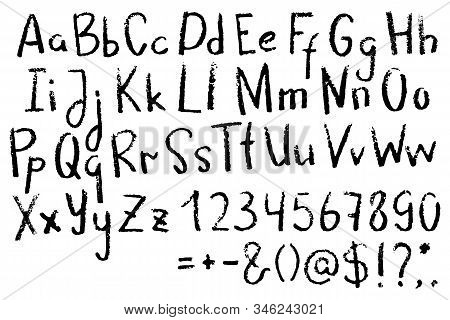 English Letters And Numbers. Handwritten Grunge Alphabet With Punctuation Signs On White Background.