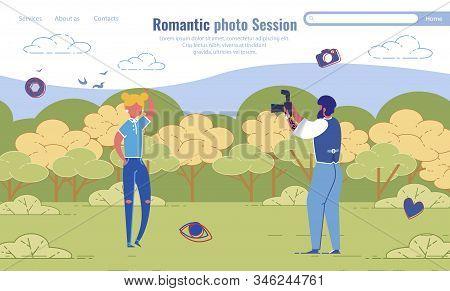 Romantic Photo Session Organization Landing Page Design. Amateur Photoshoot On Date. Photographer An