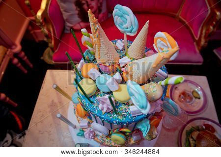 Decoration For Cake And Bekery. Colorfull Cake Pops In Waffle Cone For Ice Cream In Assortment, Deco