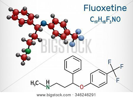 Fluoxetine molecule, is antidepressant of the selective serotonin reuptake inhibitor SSRI. Structural chemical formula and molecule model. Vector illustration poster