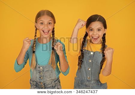 Patriotism Concept. Girls With Blue And Yellow Clothes. Patriotic Upbringing. Independence Day. Chil