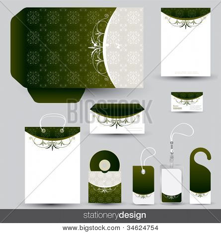 Stationery set design with vintage ornaments in vector format