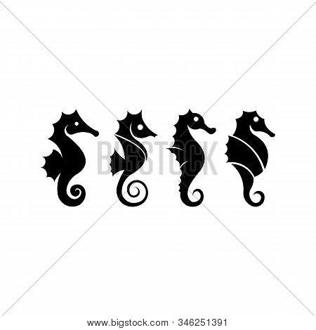 Seahorse Graphic  Sea Life Symbol, Black Silhouette Seahorse Isolated On White Background, Seahorse