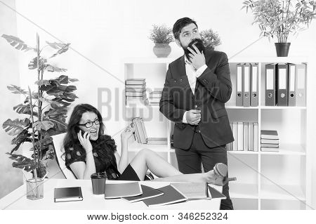 Receiving Telephone Call. Boss And Secretary Talking On Phone. Company Secretary And Manager. Sexy S
