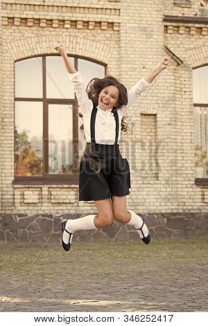 Freedom. Schoolgirl In Classy Retro Uniform. Old School. Back To School. Childhood Happiness. Classy