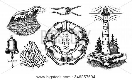 Nautical Adventure Set. Sea Lighthouse, Marine Ocean Waves, Beacon And Lifebuoy. Hand Drawn Engraved
