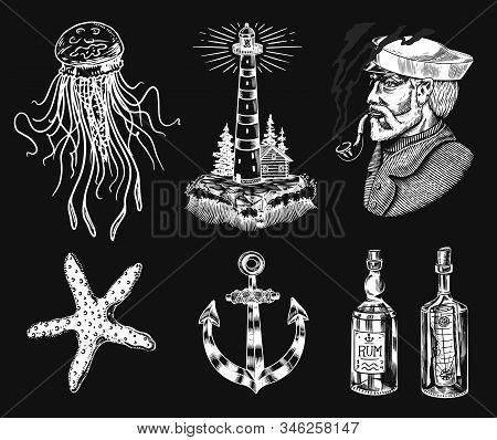 Nautical Adventure Set. Sea Lighthouse And Marine Captain And Old Sailor, Ocean Waves, Seaman And Li