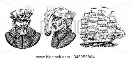 Nautical Sailing Ship In The Sea. Captain Or Sailor With Pipe. Seaman With Beard. Seagoing Vessel, M
