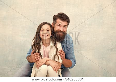 Strengthening Father Daughter Relationships. Family Hug. Father And Daughter Hug Light Background. F
