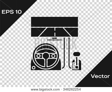 Grey Racing Simulator Cockpit Icon Isolated On Transparent Background. Gaming Accessory. Gadget For