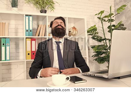 Give Yoursel A Break. Businessman Relax During Break Time. Bearded Man Listen To Music At Work Break