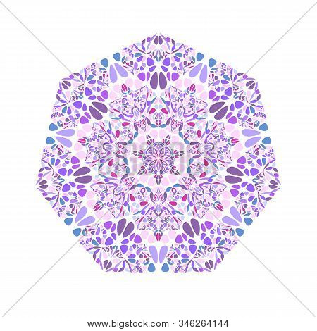 Abstract Flower Ornament Heptagon Symbol - Ornamental Geometric Vector Element