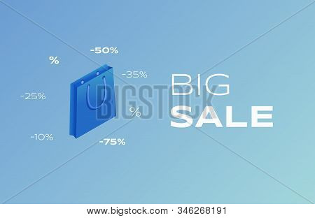 Big Sale Flat Banner Vector Template. Clearance Wholesale Advertising Poster Concept, Special Offer